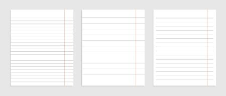 realistic set of blank paper line sheets