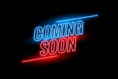 neon style coming soon glowing background design Vetores