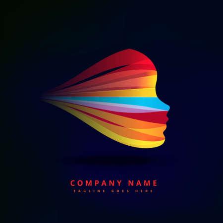 abstract concept colorful face   business symbol shape design Illusztráció
