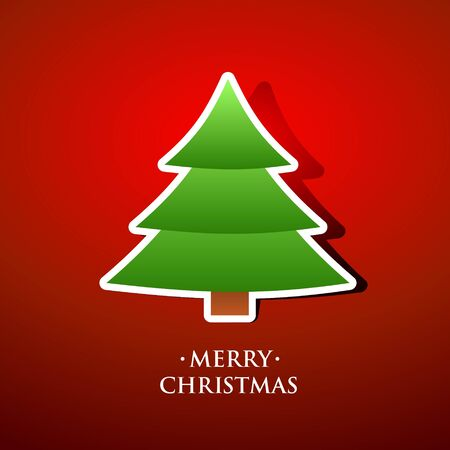 Beautiful Merry christmas greeting card with tree