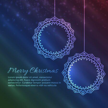 Beautiful Merry christmas greeting card with christmas balls