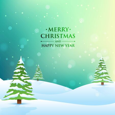 Beautiful Merry christmas greeting card with trees