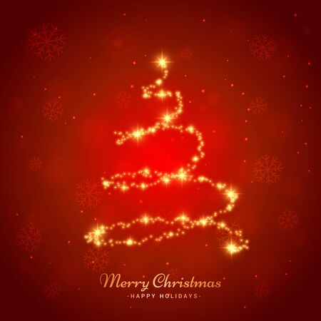 merry christmas light snowflake and tree background