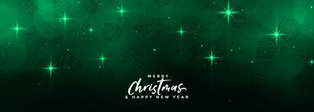 magical merry christmas stars banner in green color