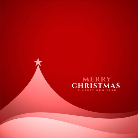 elegant minimal christmas tree design red background Иллюстрация