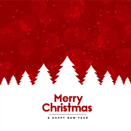 red merry christmas background with tree design