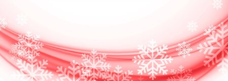 white and red merry christmas snowflakes banner design Иллюстрация