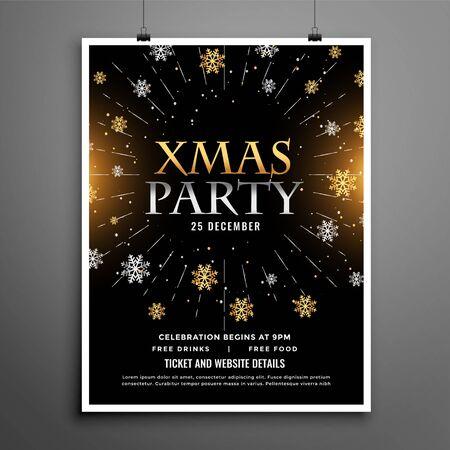 christmas party celebration black flyer poster design template