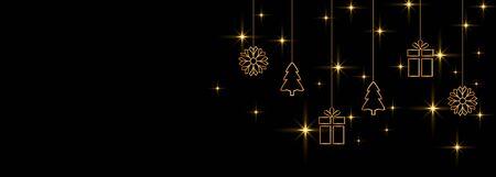 merry christmas decorative gold and black banner Иллюстрация