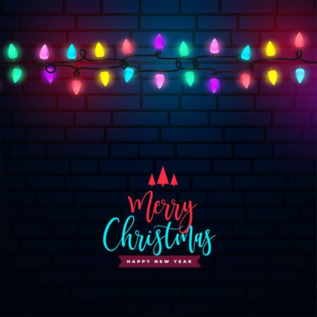 merry christmas colorful light decoration background design