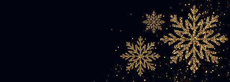 golden glitter snowflake on black background with text space Иллюстрация