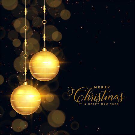 beautiful black and gold christmas festival card design Иллюстрация