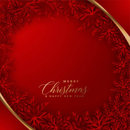 elegant red christmas background with snowflakes design