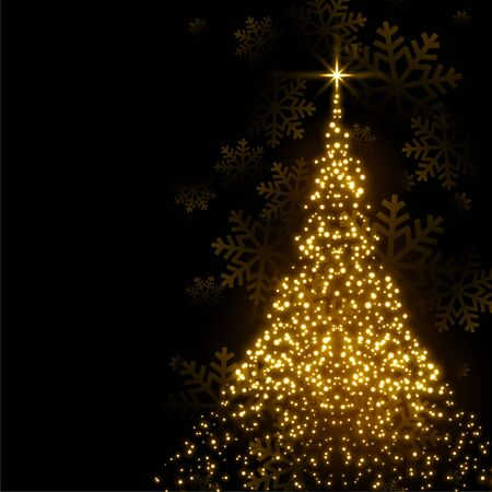 beautiful christmas tree made with sparkles background