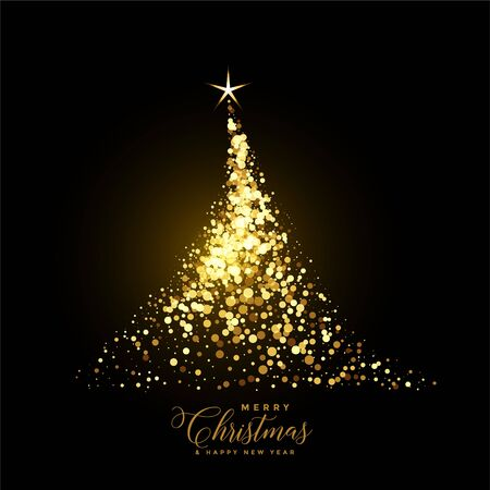 glowing gold christmas tree made with sparkles background Иллюстрация