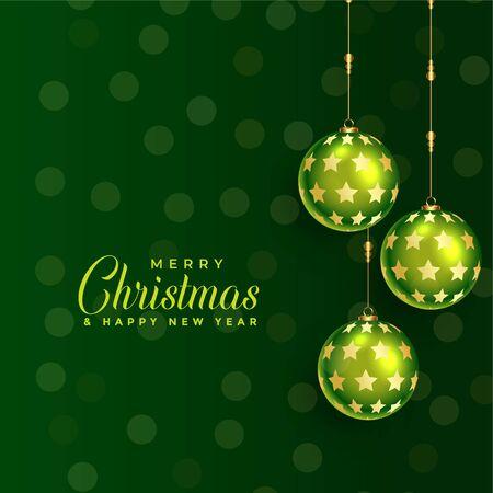 beautiful green christmas ball background Иллюстрация