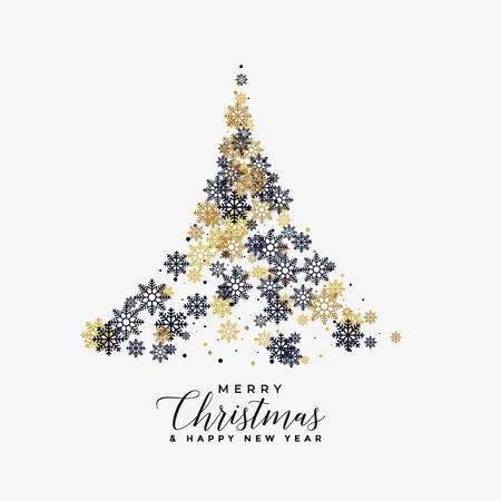 christmas tree made with snowflakes background