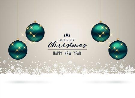 christmas background with balls and snowflakes decoration Ilustração Vetorial