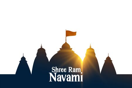 shree ram navami wishes card with temple and sin rays