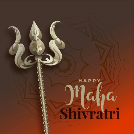 maha shivratri background with trishul weapon Vectores