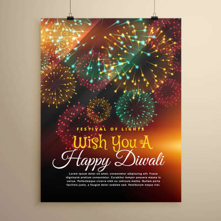 amazing diwali festival fireworks display. Flyer design template Çizim