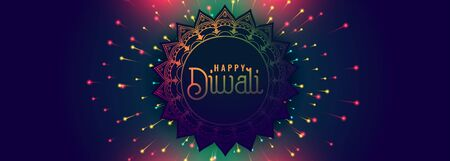 happy diwali festival banner with colorful firework design