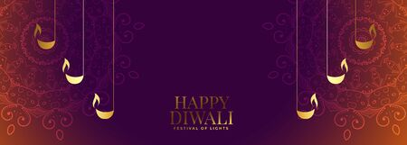 nice diwali banner with beautiful decoration design
