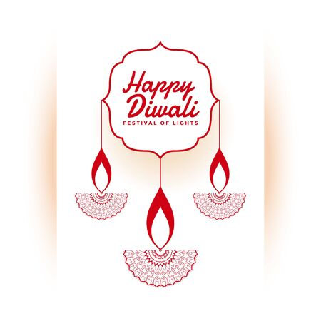 indian happy diwali festival white background design Illustration