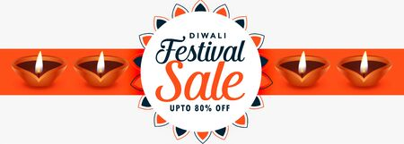 creative happy diwali festival sale banner with diyas