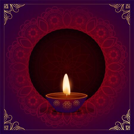 ethnic decorative happy diwali diya festival card design