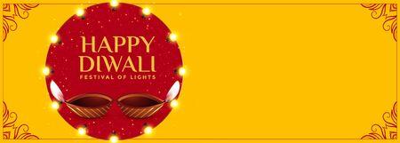 happy diwali yellow banner with diya design