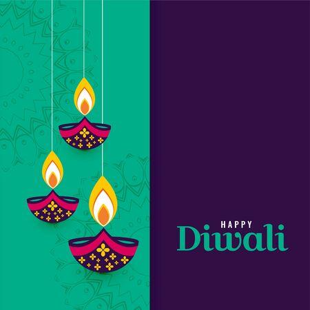 decorative happy diwali diya lamps background
