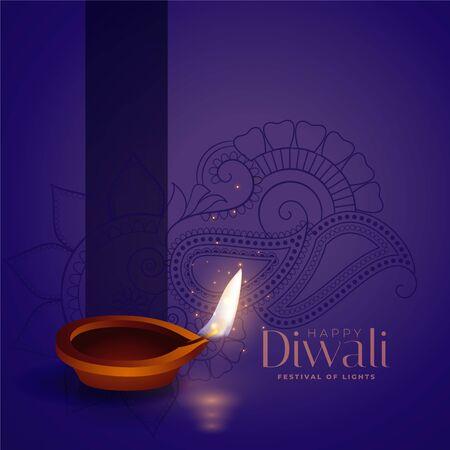 happy diwali purple background with realistic diya design Vector Illustratie