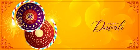 yellow cracker banner for happy diwali festival Illustration