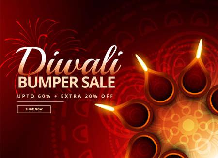 diwali sale voucher with beautiful diya decoration