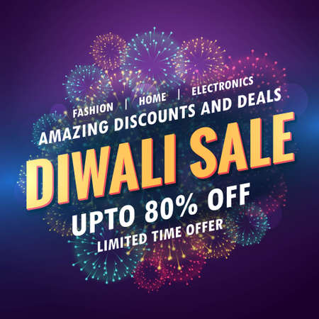 amazing diwali sale banner for your store with fireworks
