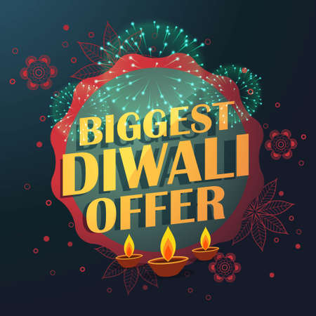 biggest diwali sale offer with beautiful decoration and diya