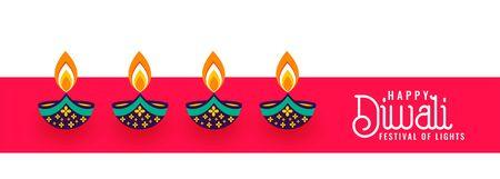 happy diwali decorative four diya festival banner design