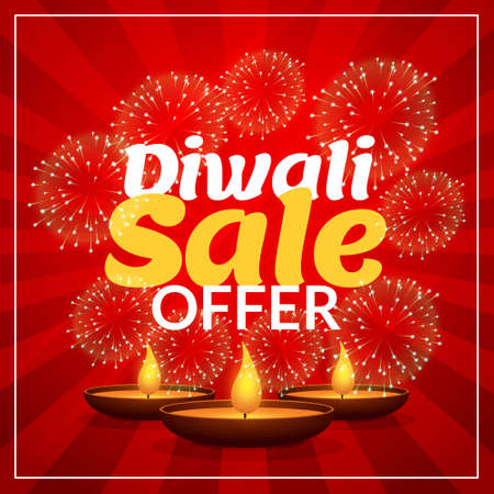 diwali sale offer discount marketing template with diya and fireworks Stock Illustratie