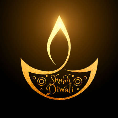 artistic diwali festival golden diya background Illustration