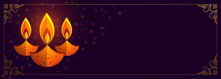 creative diya design purple happy diwali banner Illustration