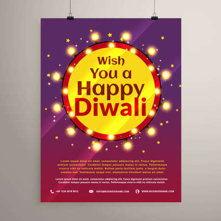 diwali festival wishes flyer invitation with lights bulbs in a circle