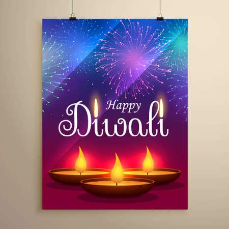 happy diwali festival greeting design with diya and fireworks