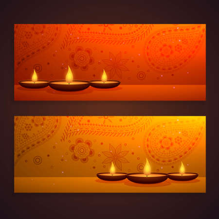 set of beautiful diwali banners with diya and paisley decoration Stock Illustratie