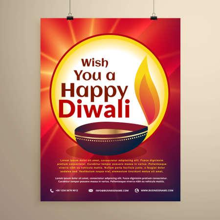 diwali celebration flyer template for the festival. Diwali greeting Stock Illustratie