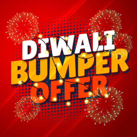 diwali bumper offer sale promotional banner with hanging lights