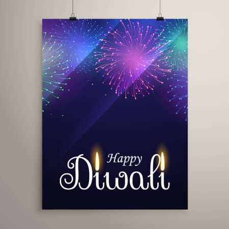 diwali festival fireworks in blue night sky flyer design template Stock Illustratie
