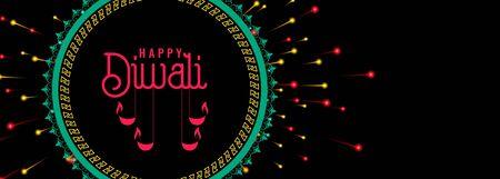 happy diwali celebration firework dark banner design
