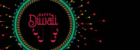 happy diwali celebration firework dark banner design