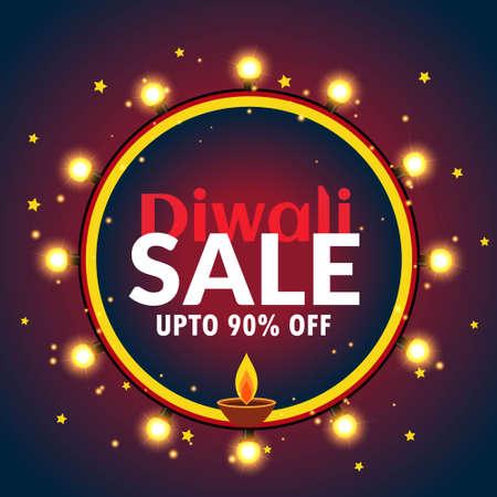 beautiful diwali sale banner with light bulbs and diya